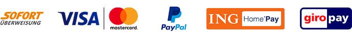 Zahlungsmöglichkeiten bei der Onlinebuchung - Sofortüberweisung, VISA/Mastercard, PayPal, ING HomePay, giropay